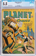 Golden Age (1938-1955):Science Fiction, Planet Comics #27 (Fiction House, 1943) CGC FN- 5.5 Off-white towhite pages....