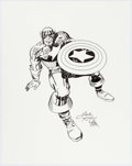 "Original Comic Art:Splash Pages, Jack Kirby (lightboxed) and Mike Royer ""Captain America"" Pin-UpOriginal Art (undated)...."