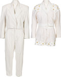 Music Memorabilia:Costumes, A Connie Francis Pair of White Leather Suits, 1980s.... (Total: 2Items)