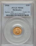 Commemorative Gold, 1916 G$1 McKinley Gold Dollar MS66 PCGS. PCGS Population: (651/94).NGC Census: (316/78). CDN: $1,150 Whsle. Bid for proble...