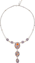 Estate Jewelry:Necklaces, Diamond, Sapphire, Amethyst, White Gold Necklace. ...