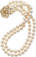 Estate Jewelry:Necklaces, Cultured Pearl, Diamond, Colored Diamond, Gold Necklace. ...