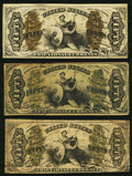 Fractional Currency:Third Issue, 50¢ Third Issue Justice.. Fr. 1346 VF;. Fr. 1348 VG, several internal splits;. Fr. 1357 VG.. ... (Total: 3 notes)
