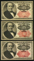 Fractional Currency:Fifth Issue, 25¢ Fifth Issue Choice New.. Fr. 1308, toning and a small spot onthe back;. Fr. 1309 (2).. ... (Total: 3 notes)