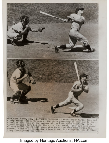 1961 Roger Maris And Mickey Mantle Wire Photographs Baseball