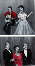 """Music Memorabilia:Original Art, A Connie Francis-Owned Set of Acrylic Paintings by Yaacov HellerTitled """"Elvis and Connie"""" and """"Vegas Legends,"""" Circa 1990s....(Total: 2 Items)"""