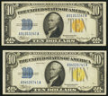 Small Size:World War II Emergency Notes, Fr. 2309 $10 1934A North Africa Silver Certificate. Extremely Fine. Two Examples.. ... (Total: 2 notes)