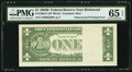 Error Notes:Obstruction Errors, Partial Obstruction of Back Printing Error Fr. 1902-E $1 1963BFederal Reserve Note. PMG Gem Uncirculated 65 EPQ.. ...