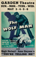 "Movie Posters:Horror, The Wolf Man (Universal, 1941). Window Card (14"" X 22"").. ..."