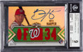Baseball Cards:Singles (1970-Now), 2012 Topps Triple Threads Bryce Harper Emerald Rookie JerseyAutograph #129 BGS Mint 9 - 9 Autograph. ...
