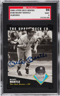 """Autographs:Sports Cards, Signed 1994 Upper Deck """"Heroes"""" Mickey Mantle #100 Autograph SGC 96Mint 9...."""