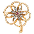 Estate Jewelry:Brooches - Pins, Retro Ruby, Aquamarine, Gold Brooch. ...