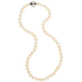 Estate Jewelry:Necklaces, Cultured Pearl, Diamond, White Gold Necklace, Mikimoto. ...