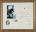Miscellaneous Collectibles:General, 1964 Jacqueline Kennedy Signed Letter Display. ...