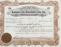 Baseball Collectibles:Others, 1933 Tris Speaker Signed Kansas City Baseball Club Stock. ...