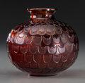 Art Glass:Lalique, R. Lalique Amber Glass Grenade Vase. Circa 1930. EngravedR. Lalique, France. M p. 448, No. 1045. Ht. 4-...