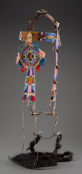 American Indian Art:Beadwork and Quillwork, A Crow Beaded Hide Headstall with Buffalo Hair Reins...