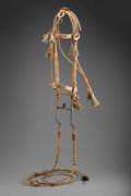 American Indian Art:Pipes, Tools, and Weapons, A Native-Made Braided Horsehair Bridle and Reins...