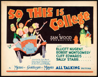 "So This is College (MGM, 1929). Title Lobby Card (11"" X 14"") John Held Jr. Artwork"