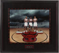 "Basketball Collectibles:Photos, 2000 Michael Jordan, Scottie Pippen & Dennis Rodman ""The BestEver"" UDA Signed Framed Oversized Photograph. ..."