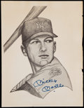 Autographs:Photos, Mickey Mantle Signed Sketch Artwork....