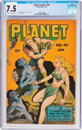 Golden Age (1938-1955):Science Fiction, Planet Comics #40 (Fiction House, 1946) CGC VF- 7.5 Cream tooff-white pages....