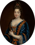 Fine Art - Painting, European:Antique  (Pre 1900), Circle of Arnold Boonen (Dutch, 1669-1729). A portrait of alady, half-length, wearing a blue dress trimmed with gold and...