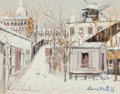 Paintings, Maurice Utrillo (French, 1883-1955). Maquis sous la neige, Montmartre, circa 1938. Gouache on card. 10 x 12-5/8 inches (... (Total: 2 Items)