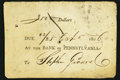 Colonial Notes:Pennsylvania, (Philadelphia), PA- Bank of Pennsylvania Three Day Note $3500 Oct.22/25, 1806 About New.. ...