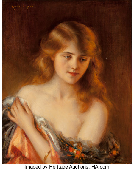 Albert Lynch (Peruvian, 1851-1912) Reverie Oil on canvas 19-1/4 x 15-1/4 inches (48.9 x 38.7 cm) Signed upper left: ...