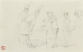 Fine Art - Work on Paper:Drawing, Henri de Toulouse-Lautrec (French, 1864-1901). Chez lephotographe; Croquis de têtes (Double-sided), Circa 1881-82.Blac... (Total: 2 Items)