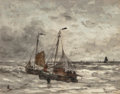 Fine Art - Painting, European:Antique  (Pre 1900), Hendrik Willem Mesdag (Dutch, 1831-1915). Fishing boats atanchor on a choppy sea. Watercolor on paper. 17-3/4 x 22-5/8... (Total: 2 Items)