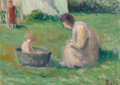 Paintings, Maximilien Luce (French, 1858-1941). Le bain du bébé. Oil on cardboard. 7-1/2 x 10-1/2 inches (19.1 x 26.7 cm). Signed l...