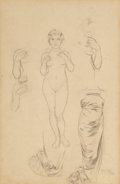 "Fine Art - Work on Paper:Drawing, Alphonse Mucha (Czechoslovakian, 1860-1939). Preliminary designfor ""The Rose"", 1899. Pencil on card. 19-3/4 x 12-3/4 in...(Total: 2 Items)"