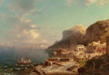 Fine Art - Painting, European:Antique  (Pre 1900), Franz Richard Unterberger (German, 1838-1902). The port of Capri. Oil on canvas laid on masonite. 26-1/4 x 36-3/4 inches...