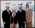 Baseball Collectibles:Photos, 2000's Hall of Fame Catchers Multi-Signed Oversized Photograph -Carter, Berra, Bench & Fisk....
