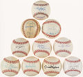 Autographs:Baseballs, Baseball Greats Single/Multi Signed Baseballs Lot of 10. ...