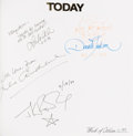 "Movie/TV Memorabilia:Autographs and Signed Items, A Johnny Depp, J.K. Rowling, Arnold Schwarzenegger, SigourneyWeaver and Others Signed Guest Book from ""The Today Show.""..."
