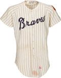 Baseball Collectibles:Uniforms, 1969 Hank Aaron Game Worn Atlanta Braves Jersey Photo Matched toNLCS Home Run Game, MEARS A7....