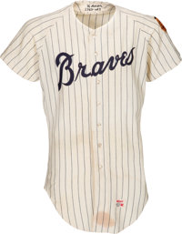 1969 Hank Aaron Game Worn Atlanta Braves Jersey Photo Matched to NLCS Home Run Game, MEARS A7