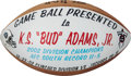 Football Collectibles:Balls, 2002 Tennessee Titans Painted Game Football Presented to Bud Adams - Division Clincher. ...