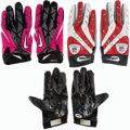 Football Collectibles:Others, Jason Snelling, Sheldon Brown, and Unknown Signed and Game Worn Receiver Gloves (Lot of 3)....
