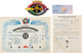 Music Memorabilia:Memorabilia, Linda Thompson Khang Rhee Karate Certificate, Contract TCB Patch And Check (1973)....