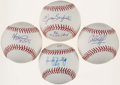 Autographs:Baseballs, Baseball Greats Single Signed Baseball Quartet (4) - Barfield,Rojas, Hundley, and Seitzer. ...