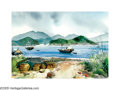 American:Regional, BUD BIGGS (American 1906-1985). Hong Kong. Watercolor onpaper. 14.5in. x 21in.. Signed lower left. ...