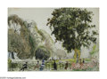 American:Impressionism, HAYLEY LEVER (American 1876-1958). Hyde Park, LondonEngland, 1904. Watercolor on paper. 10in.x 14in.. Signed lowerrigh...