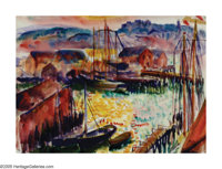 HAYLEY LEVER (American 1876-1958) Sunset, Gloucester, Massachusetts Watercolor on paper 9.5in. x 13.5in. Signed lowe