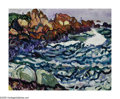 American:Impressionism, HAYLEY LEVER (American 1876-1958). Coast of Maine, 1913.Watercolor on paper. 11.25in. x 14.5in.. Signed lower left. Ins...
