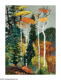 MILLARD OWEN SHEETS (American 1907-1989) Autumn Trees Watercolor on paper 29.75in.x 22in. Signed lower right  Bria
