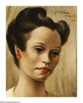 American:Regional, FLETCHER MARTIN (American 1904-1979). Brunette Woman, 1941.Oil on board. 10in. x 7.5in.. Signed upper right. ...